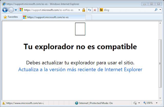 Captura de Internet Explorer 8 en la web support.microsoft.com: la página dice «Tu explorador no es compatible»