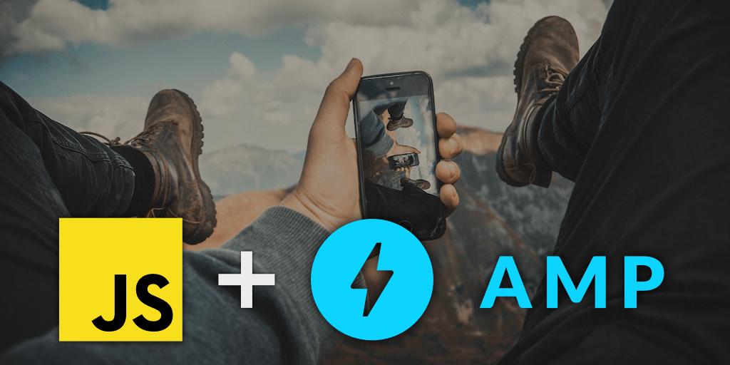 Suma de dos logos, JavaScript + AMP, sobre fotografía de celular tomando foto de deporte de aventura