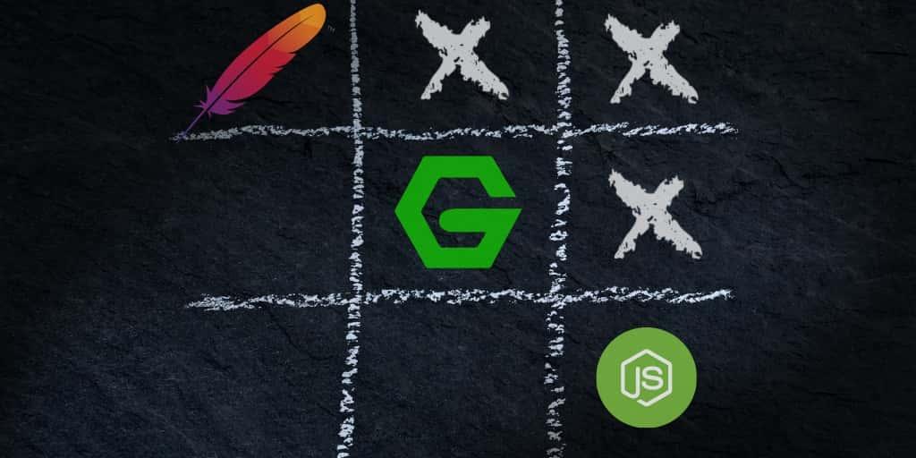 Logos de nginx, Node.js y Apache formando una línea ganadora en un juego de tres en raya